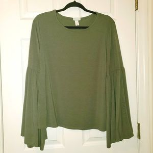 Ava & Viv Olive Knit Top w/Bell Sleeves